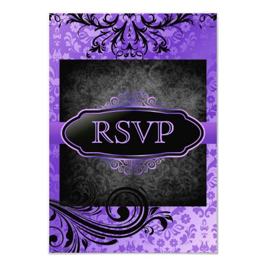 Luscious Vintage Purple Scroll Rsvp Invitations