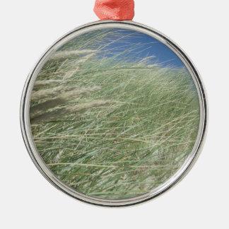Lush Beach Grass Silver-Colored Round Decoration