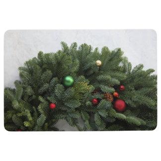 Lush Christmas wreath Floor Mat