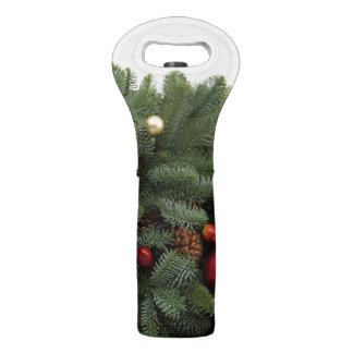 Lush Christmas wreath Wine Bag
