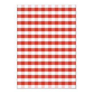 Lush Dahlia Red & White Gingham Check Plaid 9 Cm X 13 Cm Invitation Card