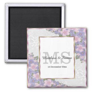Lush floral square magnet