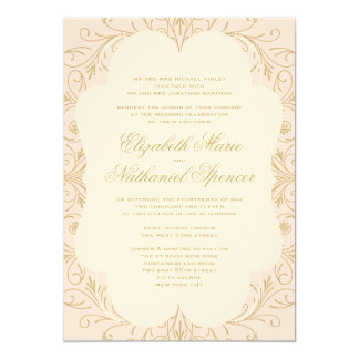 Lush Flourish Wedding Invitation Blush/Gold