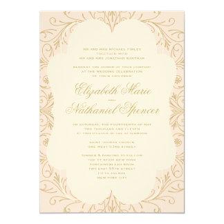 """Lush Flourish Wedding Invitation Blush/Gold 5"""" X 7"""" Invitation Card"""