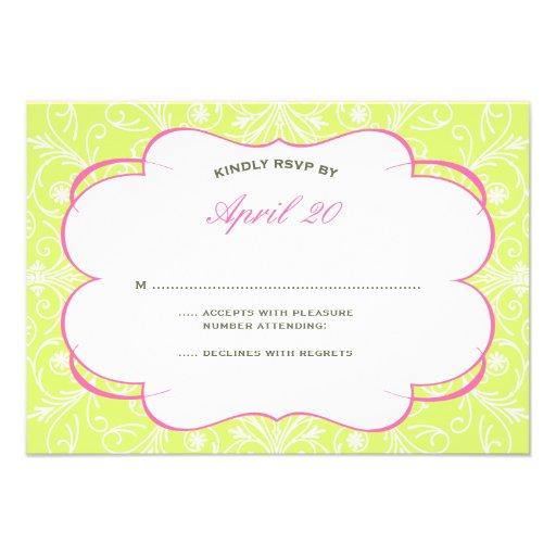 Lush Flourish Wedding RSVP in Pink & Green