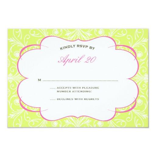 Lush Flourish Wedding RSVP in Pink & Green 9 Cm X 13 Cm Invitation Card