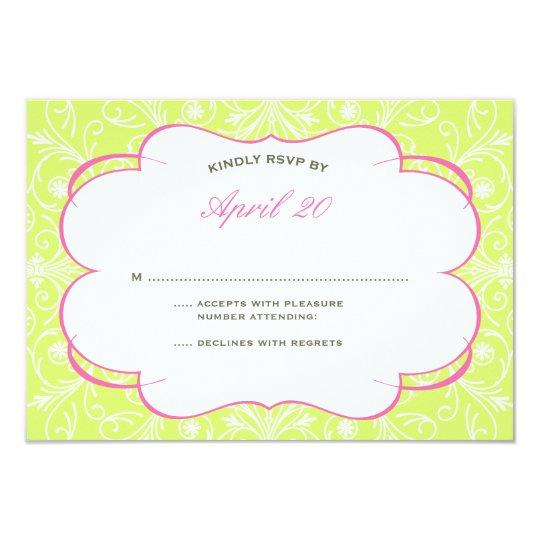 Lush Flourish Wedding RSVP in Pink & Green Card