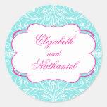 Lush Flourish Wedding Sticker in Pink & Blue