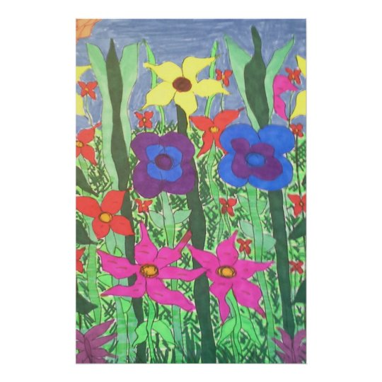 Lush Garden Boho Folk Floral Art Poster Print