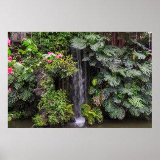 Lush Garden Waterfall, China Poster