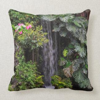 Lush Garden Waterfall, China Throw Pillow