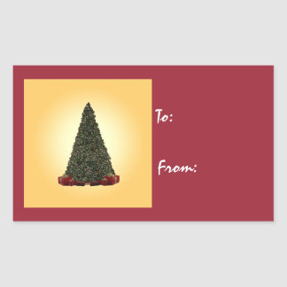 Lush Green Christmas Tree on Gold Back Rectangular Sticker