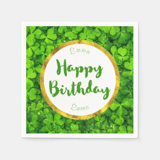 Lush Green Clovers with FAUX Gold Foil Birthday Disposable Napkin