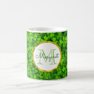 Lush Green Clovers with FAUX Gold Foil & Monogram Coffee Mug