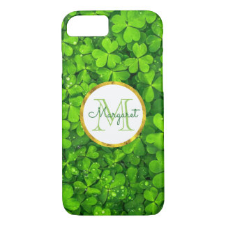 Lush Green Clovers with FAUX Gold Foil & Monogram iPhone 7 Case
