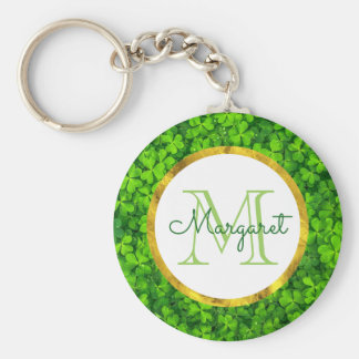 Lush Green Clovers with FAUX Gold Foil & Monogram Key Ring