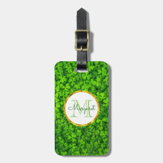 Lush Green Clovers with FAUX Gold Foil & Monogram Luggage Tag