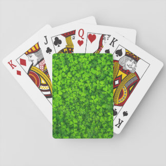 Lush Green Clovers with Water Drops Playing Cards