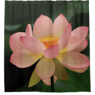 Lush Green Tropical Zen Garden Pink Lotus Flower Shower Curtain