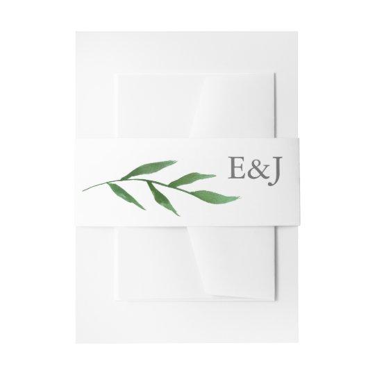 Lush Leaves Elegant Watercolor Wedding Monogram Invitation Belly