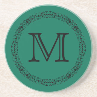 Lush Meadow Rich Green Modern Solid Color Monogram Coaster