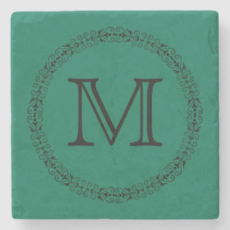 Lush Meadow Rich Green Modern Solid Color Monogram Stone Beverage Coaster