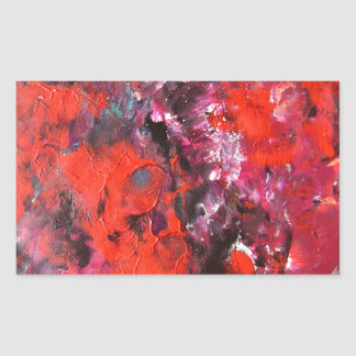 Lush modern red abstract flower field painting rectangular sticker