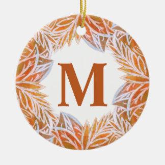 Lush of Autumn Leaves Monogram Ceramic Ornament