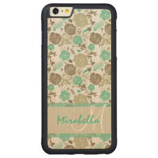 Lush pastel mint green, beige roses on white name carved® maple iPhone 6 plus bumper case