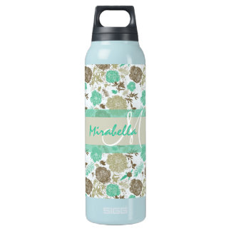 Lush pastel mint green, beige roses on white name insulated water bottle