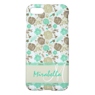 Lush pastel mint green, beige roses on white name iPhone 8/7 case