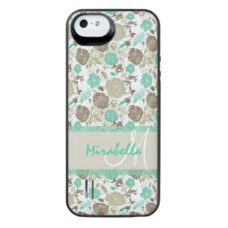 Lush pastel mint green, beige roses on white name iPhone SE/5/5s battery case