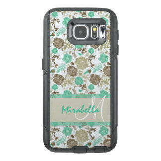 Lush pastel mint green, beige roses on white name OtterBox samsung galaxy s6 case