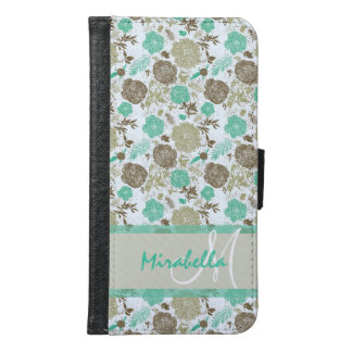 Lush pastel mint green, beige roses on white name samsung galaxy s6 wallet case