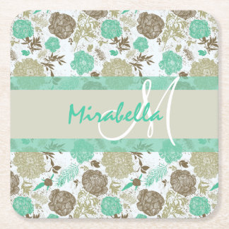 Lush pastel mint green, beige roses on white name square paper coaster