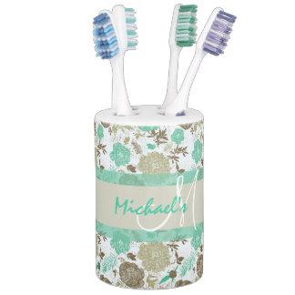 Lush pastel mint green, beige roses on white name toothbrush holder
