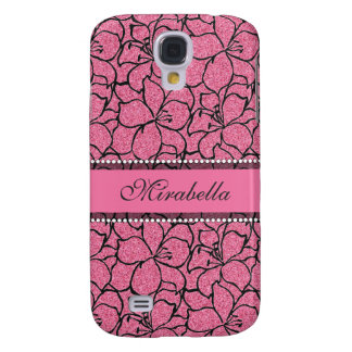 Lush Pink Lilies with black outline, pink glitter Galaxy S4 Case