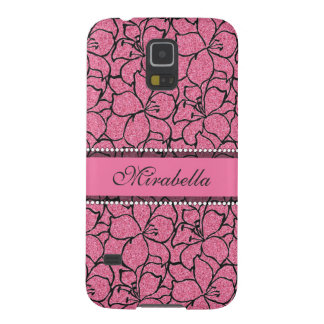 Lush Pink Lilies with black outline, pink glitter Galaxy S5 Cover