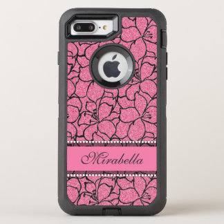 Lush Pink Lilies with black outline,  pink glitter OtterBox Defender iPhone 8 Plus/7 Plus Case