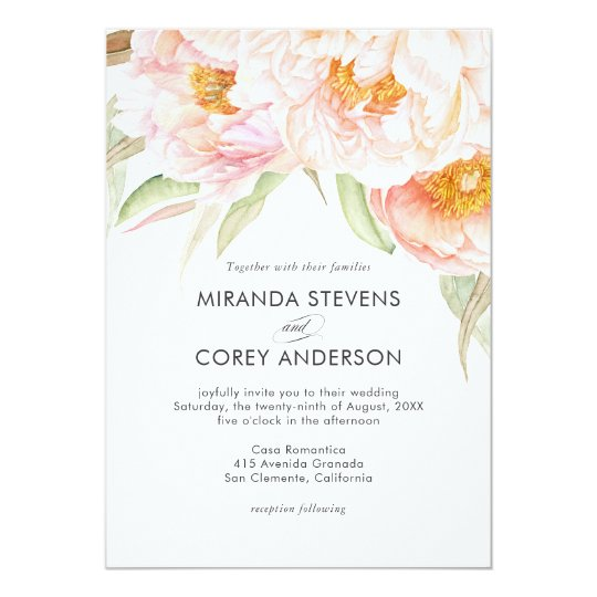 Lush Pink Peonies Watercolor Floral Wedding Card