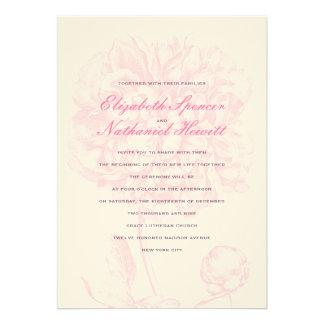 Lush Pink Peony Wedding Invitation