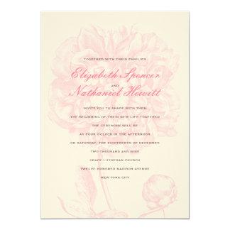 "Lush Pink Peony Wedding Invitation 5"" X 7"" Invitation Card"
