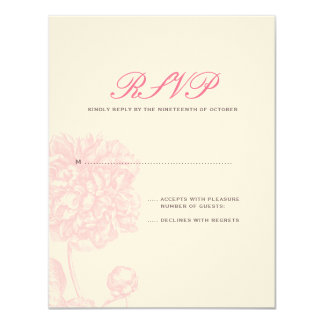"Lush Pink Peony Wedding RSVP 4.25"" X 5.5"" Invitation Card"