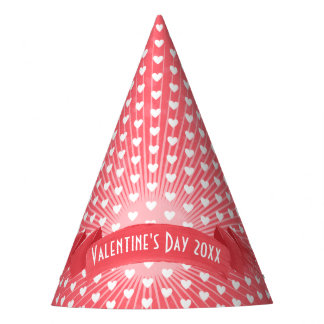 Lush Red and White Love Hearts | Valentine's Day Party Hat