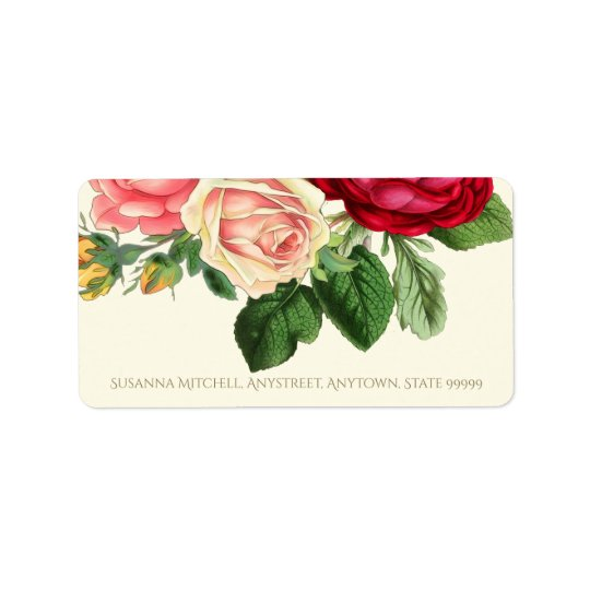 Lush Vintage Floral ID225 Address Label