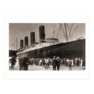 Lusitania Arrives New York City 1907 Postcard