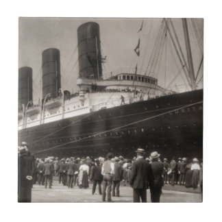 Lusitania Arrives New York City 1907 Small Square Tile