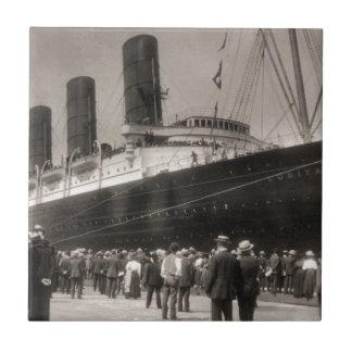 Lusitania Arrives New York City 1907 Ceramic Tile