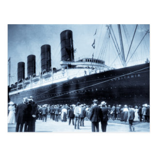 Lusitania Docked in New York City Blue Tone Postcard