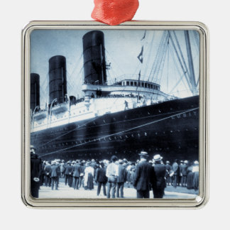 Lusitania Docked in New York City Blue Tone Silver-Colored Square Decoration